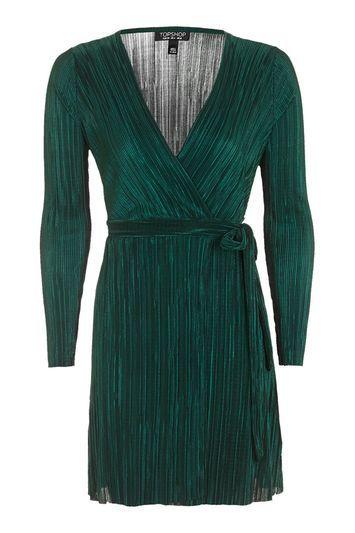 Plisse Wrap Dress - style: faux wrap/wrap; neckline: low v-neck; pattern: plain; waist detail: belted waist/tie at waist/drawstring; predominant colour: dark green; occasions: evening, creative work; length: just above the knee; fit: body skimming; fibres: polyester/polyamide - 100%; sleeve length: long sleeve; sleeve style: standard; pattern type: fabric; pattern size: standard; texture group: other - light to midweight; trends: glossy girl; season: s/s 2016; wardrobe: highlight