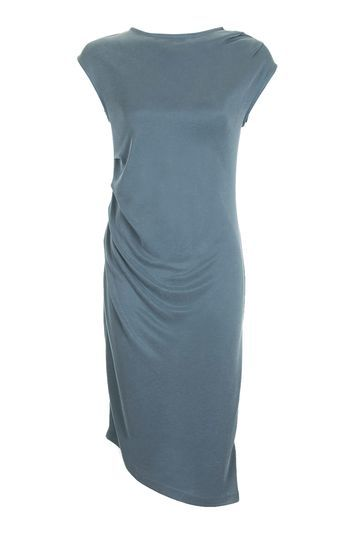 Asymmetric Drape Midi Dress - length: calf length; sleeve style: capped; pattern: plain; predominant colour: denim; occasions: casual, creative work; fit: body skimming; style: asymmetric (hem); fibres: polyester/polyamide - mix; neckline: crew; sleeve length: short sleeve; pattern type: fabric; texture group: jersey - stretchy/drapey; trends: chic girl; season: a/w 2016; wardrobe: highlight