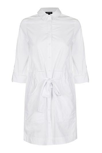 Belted Poplin Shirt Dress - style: shirt; neckline: shirt collar/peter pan/zip with opening; pattern: plain; waist detail: belted waist/tie at waist/drawstring; predominant colour: ivory/cream; occasions: casual; length: just above the knee; fit: straight cut; fibres: cotton - 100%; sleeve length: 3/4 length; sleeve style: standard; texture group: cotton feel fabrics; pattern type: fabric; trends: chic girl; season: a/w 2016