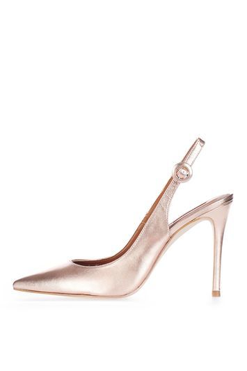 Goldy Slingback Shoes - predominant colour: gold; occasions: evening, occasion; material: suede; heel: stiletto; toe: pointed toe; style: slingbacks; finish: plain; pattern: plain; heel height: very high; trends: glossy girl, metallics; season: s/s 2016; wardrobe: event