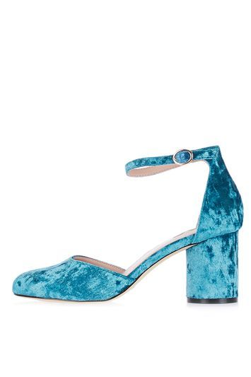 Jagga Velvet Mid Shoes - predominant colour: turquoise; occasions: evening; material: velvet; heel height: mid; ankle detail: ankle strap; heel: block; toe: round toe; style: courts; finish: plain; pattern: plain; season: a/w 2016; wardrobe: event; trends: velvet