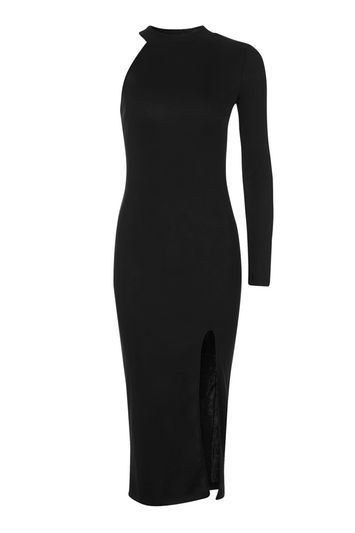 One Shoulder Ribbed Midi Dress - length: below the knee; fit: tight; pattern: plain; sleeve style: asymmetric sleeve; style: bodycon; predominant colour: black; occasions: evening; fibres: polyester/polyamide - stretch; neckline: crew; sleeve length: sleeveless; texture group: jersey - clingy; pattern type: fabric; trends: glossy girl; season: a/w 2016; wardrobe: event
