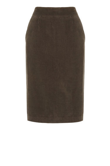 Cord Midi Skirt - pattern: plain; style: pencil; fit: tailored/fitted; waist: high rise; predominant colour: chocolate brown; occasions: work, creative work; length: on the knee; fibres: cotton - 100%; texture group: corduroy; pattern type: fabric; wardrobe: basic; season: a/w 2016