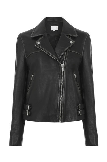 Distressed Biker Jacket - pattern: plain; style: biker; collar: asymmetric biker; predominant colour: black; occasions: casual, creative work; length: standard; fit: tailored/fitted; fibres: leather - 100%; sleeve length: long sleeve; sleeve style: standard; texture group: leather; collar break: high/illusion of break when open; pattern type: fabric; wardrobe: basic; season: a/w 2016