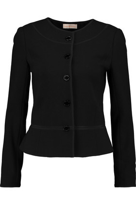 Yasmine Wool Crepe Jacket Black - pattern: plain; style: single breasted blazer; collar: round collar/collarless; predominant colour: black; occasions: work, creative work; length: standard; fit: tailored/fitted; fibres: wool - 100%; sleeve length: long sleeve; sleeve style: standard; collar break: high; pattern type: fabric; texture group: woven light midweight; wardrobe: investment; season: a/w 2016