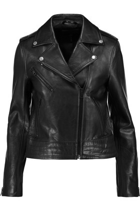 Chrystie Leather Biker Jacket Black - pattern: plain; style: biker; collar: asymmetric biker; predominant colour: black; occasions: casual, creative work; length: standard; fit: tailored/fitted; fibres: leather - 100%; sleeve length: long sleeve; sleeve style: standard; texture group: leather; collar break: high/illusion of break when open; pattern type: fabric; wardrobe: basic; season: a/w 2016