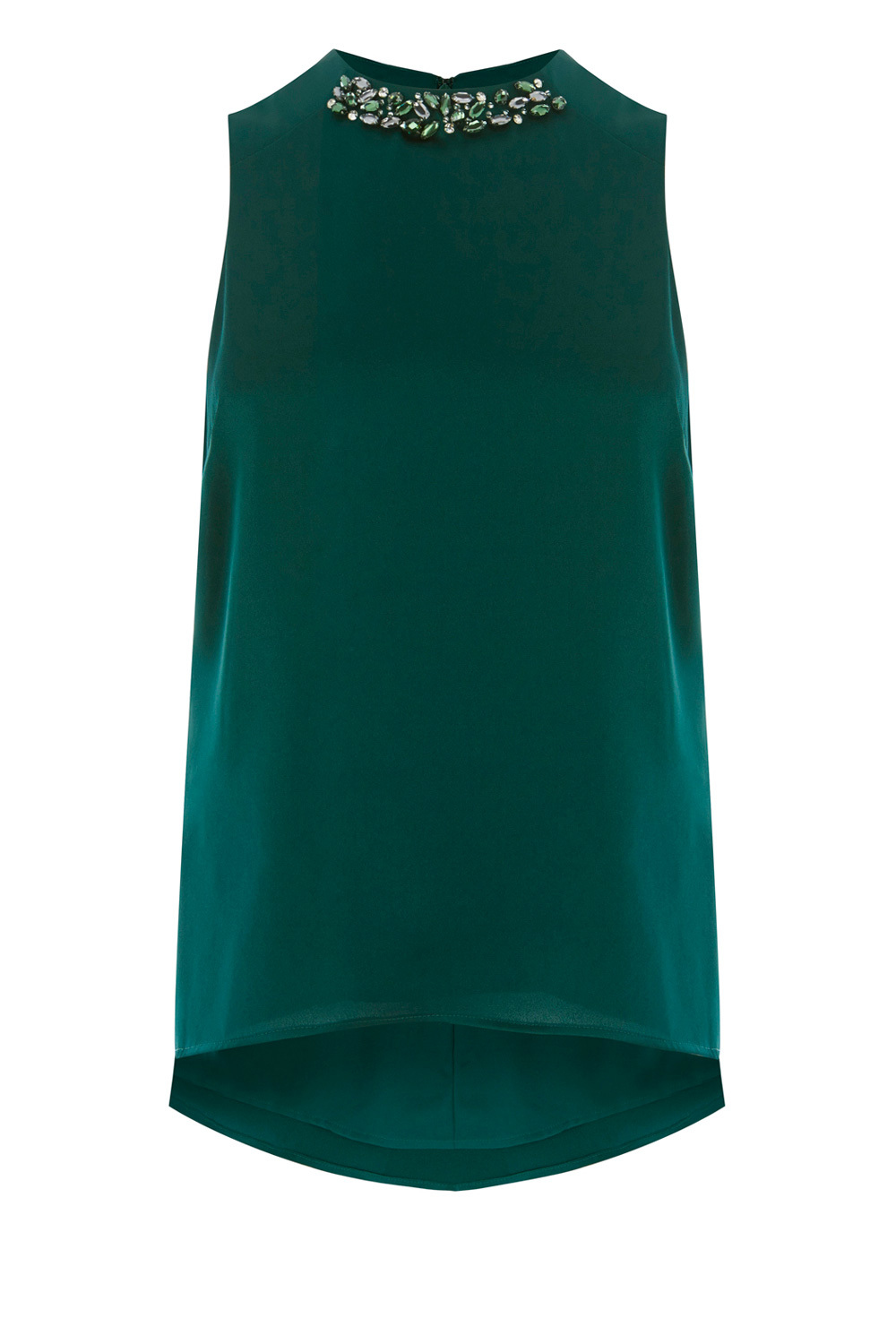 Katerina Tunic Top - pattern: plain; sleeve style: sleeveless; length: below the bottom; style: tunic; predominant colour: dark green; occasions: evening; fibres: polyester/polyamide - 100%; fit: body skimming; neckline: crew; sleeve length: sleeveless; texture group: crepes; pattern type: fabric; embellishment: jewels/stone; season: a/w 2016; wardrobe: event; embellishment location: bust
