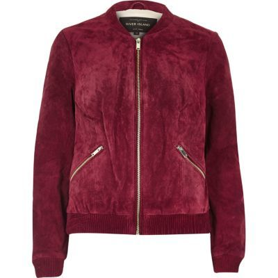 Womens Dark Red Suede Bomber Jacket - pattern: plain; collar: round collar/collarless; style: bomber; predominant colour: burgundy; occasions: casual, creative work; length: standard; fit: straight cut (boxy); fibres: leather - 100%; sleeve length: long sleeve; sleeve style: standard; collar break: high; pattern type: fabric; texture group: suede; season: a/w 2016