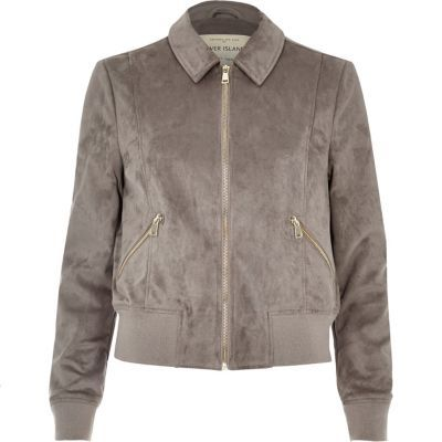 Womens Light Grey Trucker Jacket - pattern: plain; style: single breasted blazer; predominant colour: mid grey; occasions: casual, creative work; length: standard; fit: tailored/fitted; fibres: polyester/polyamide - stretch; collar: shirt collar/peter pan/zip with opening; sleeve length: long sleeve; sleeve style: standard; collar break: high; pattern type: fabric; texture group: suede; wardrobe: basic; season: a/w 2016