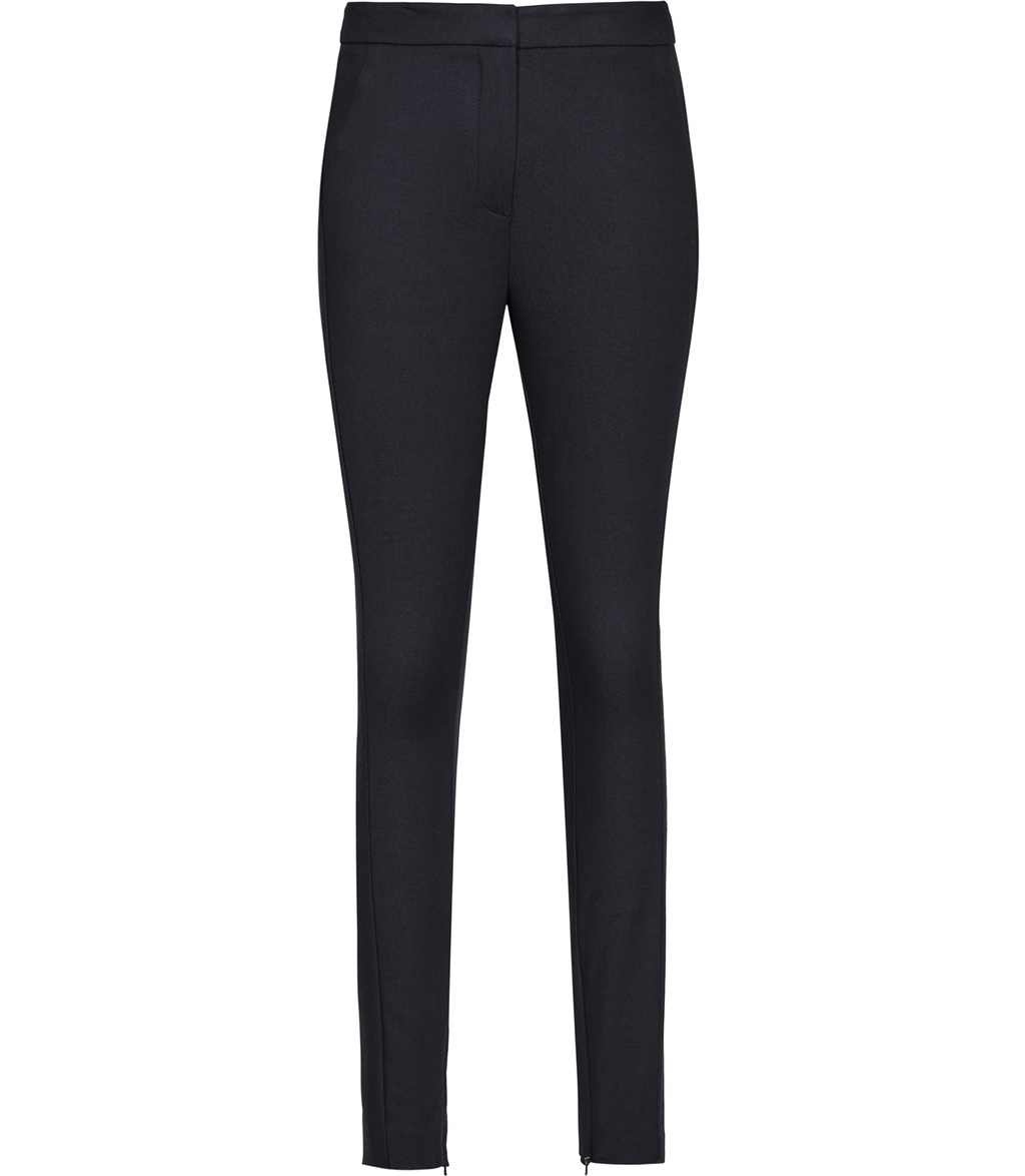 Darlas Womens Skinny Tailored Trousers In Blue - length: standard; pattern: plain; waist: mid/regular rise; predominant colour: navy; occasions: work; fibres: wool - mix; waist detail: feature waist detail; fit: slim leg; pattern type: fabric; texture group: woven light midweight; style: standard; wardrobe: basic; season: a/w 2016