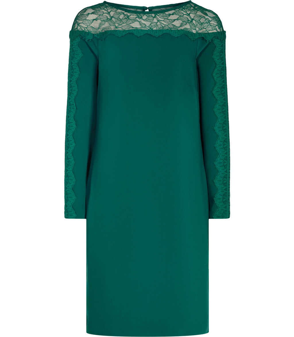 Claudia Womens Lace Detail Shift Dress In Green - style: shift; pattern: plain; predominant colour: emerald green; occasions: evening; length: just above the knee; fit: body skimming; fibres: polyester/polyamide - 100%; neckline: crew; sleeve length: long sleeve; sleeve style: standard; texture group: sheer fabrics/chiffon/organza etc.; pattern type: fabric; embellishment: lace; shoulder detail: sheer at shoulder; season: a/w 2016; wardrobe: event; embellishment location: shoulder, sleeve/cuff