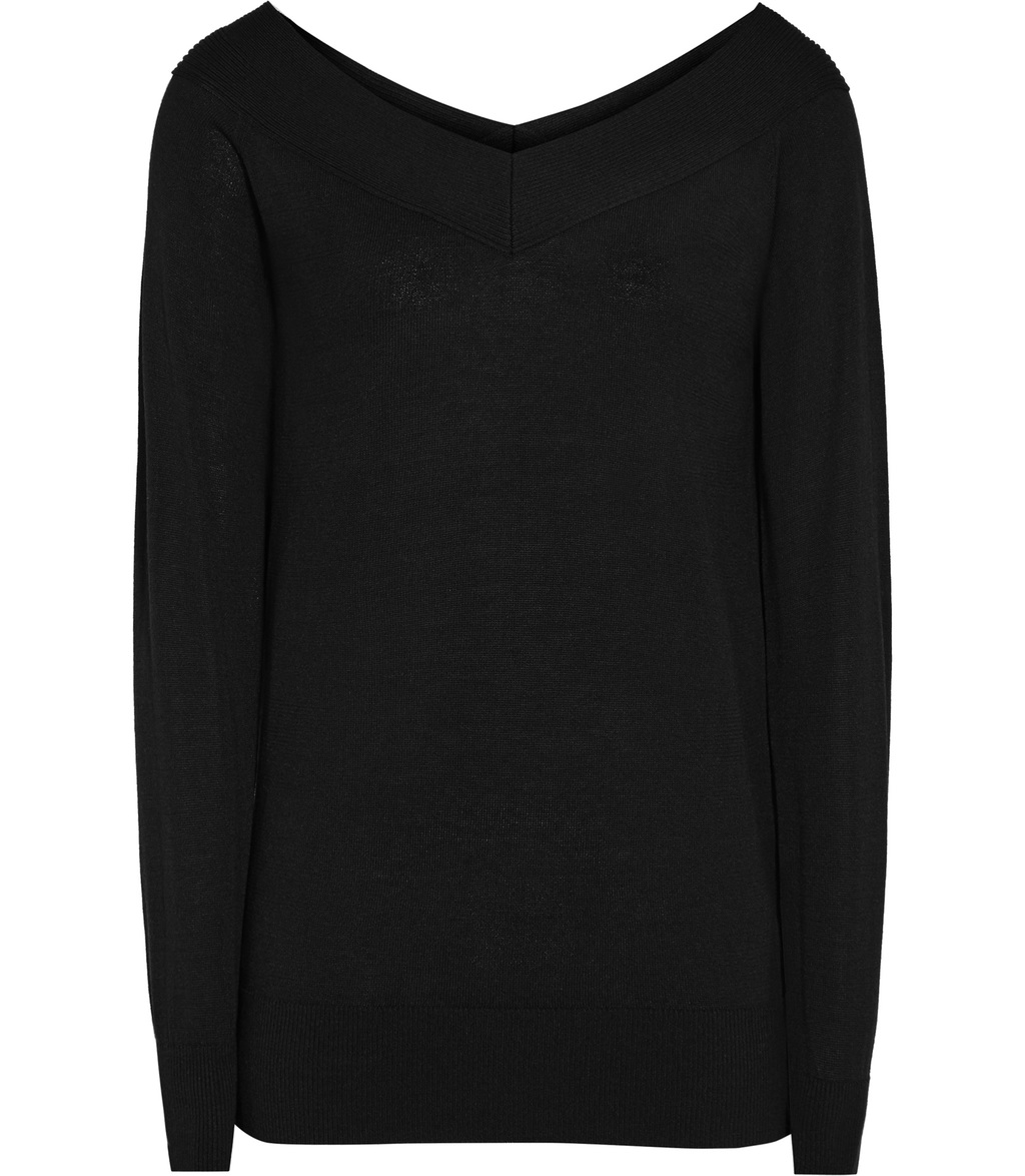 Christobel Womens Off The Shoulder Jumper In Black - neckline: v-neck; pattern: plain; style: standard; predominant colour: black; occasions: casual; length: standard; fibres: cotton - 100%; fit: loose; sleeve length: long sleeve; sleeve style: standard; texture group: knits/crochet; pattern type: fabric; wardrobe: basic; season: a/w 2016