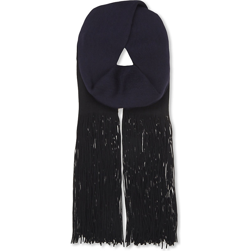 Eloïse Wool Scarf, Women's, Noir/Dark Blue/Gold - predominant colour: navy; occasions: casual, creative work; type of pattern: standard; style: regular; size: large; material: knits; embellishment: fringing; pattern: plain; wardrobe: basic; season: a/w 2016
