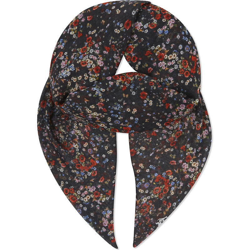 Flower And Butterfly Print Scarf, Women's, Black Red - secondary colour: true red; predominant colour: navy; occasions: casual, creative work; type of pattern: small; style: regular; size: standard; material: fabric; pattern: florals; season: a/w 2016; wardrobe: highlight