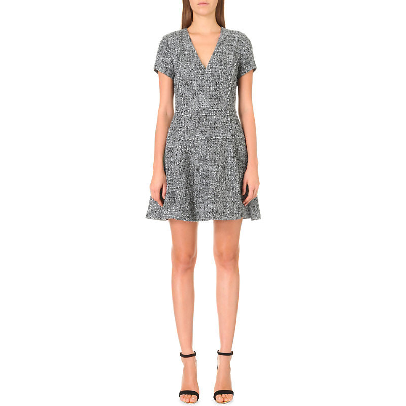 Frayed Tweed Dress, Women's, Black - length: mid thigh; neckline: v-neck; waist detail: fitted waist; pattern: herringbone/tweed; secondary colour: white; predominant colour: black; fit: fitted at waist & bust; style: fit & flare; fibres: wool - mix; hip detail: subtle/flattering hip detail; sleeve length: short sleeve; sleeve style: standard; pattern type: fabric; pattern size: standard; texture group: tweed - light/midweight; occasions: creative work; season: a/w 2016; wardrobe: highlight