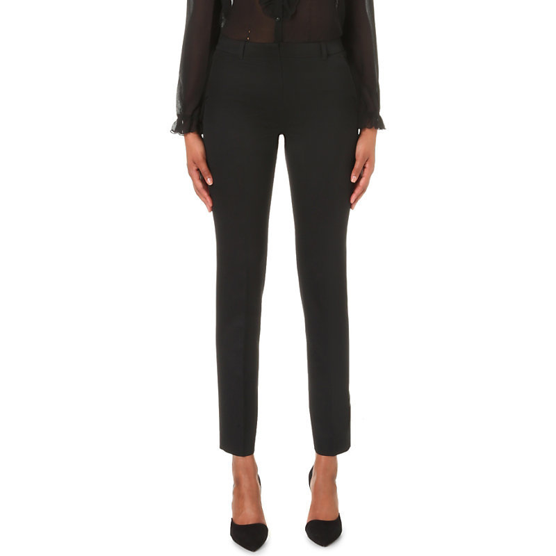 Skinny Mid Rise Stretch Wool Trousers, Women's, Black - pattern: plain; waist: mid/regular rise; predominant colour: black; occasions: work, creative work; length: ankle length; fibres: wool - mix; fit: slim leg; pattern type: fabric; texture group: woven light midweight; style: standard; pattern size: standard (bottom); season: a/w 2016