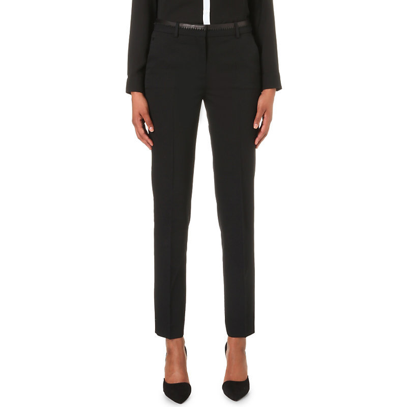 Skinny Mid Rise Stretch Wool Trousers, Women's, Black - length: standard; pattern: plain; waist: mid/regular rise; predominant colour: black; occasions: work; fibres: wool - mix; fit: slim leg; pattern type: fabric; texture group: woven light midweight; style: standard; season: a/w 2016