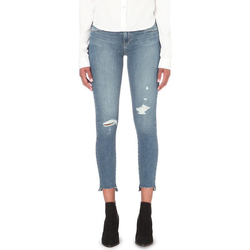 Skyline Ankle Peg Distressed Skinny Mid Rise Jeans, Women's, Gia Destructed - style: skinny leg; length: standard; pattern: plain; pocket detail: traditional 5 pocket; waist: mid/regular rise; predominant colour: denim; occasions: casual; fibres: cotton - stretch; jeans detail: shading down centre of thigh, rips; texture group: denim; pattern type: fabric; wardrobe: basic; season: a/w 2016