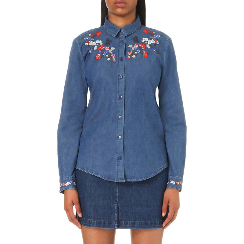Floral Embroidered Denim Shirt, Women's, Size: Small, Middle Blue - neckline: round neck; bust detail: added detail/embellishment at bust; style: shirt; predominant colour: white; secondary colour: true red; occasions: casual; length: standard; fibres: cotton - 100%; fit: body skimming; sleeve length: long sleeve; sleeve style: standard; texture group: denim; pattern type: fabric; pattern size: light/subtle; pattern: florals; embellishment: embroidered; season: a/w 2016