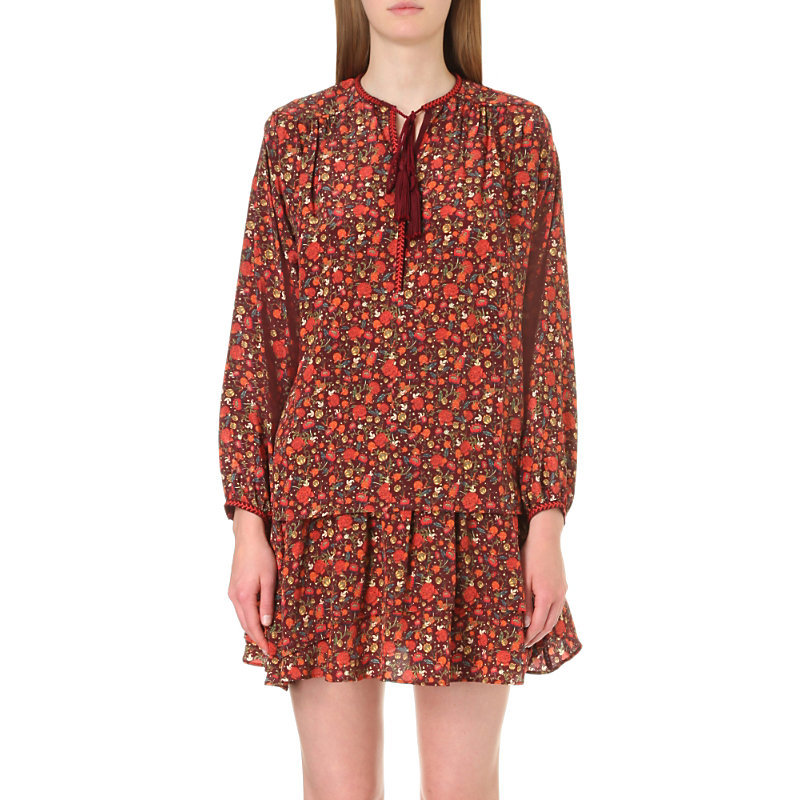 Floral Print Silk Top - neckline: pussy bow; style: blouse; predominant colour: true red; occasions: evening; length: standard; fibres: silk - 100%; fit: body skimming; sleeve length: long sleeve; sleeve style: standard; texture group: silky - light; pattern type: fabric; pattern: florals; season: a/w 2016; wardrobe: event