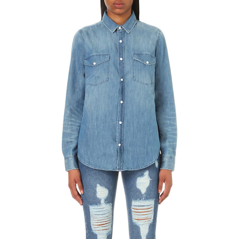 Faded Detail Denim Shirt, Women's, Size: Xxs, Blue Washed - neckline: shirt collar/peter pan/zip with opening; pattern: plain; style: shirt; predominant colour: denim; occasions: casual; length: standard; fibres: cotton - 100%; fit: body skimming; sleeve length: long sleeve; sleeve style: standard; texture group: denim; pattern type: fabric; wardrobe: basic; season: a/w 2016