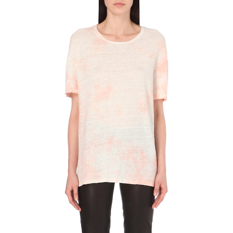 Tie Dye Oversized Linen Jersey T Shirt, Women's, Size: Xs, Pink - pattern: plain; style: t-shirt; predominant colour: pink; occasions: casual, creative work; length: standard; fibres: linen - 100%; fit: loose; neckline: crew; sleeve length: short sleeve; sleeve style: standard; pattern type: fabric; texture group: jersey - stretchy/drapey; season: a/w 2016; wardrobe: highlight