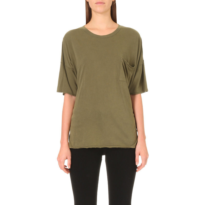The Big Cotton T Shirt, Women's, Size: Large, Light Army - pattern: plain; style: t-shirt; predominant colour: khaki; occasions: casual; length: standard; fibres: cotton - 100%; fit: body skimming; neckline: crew; sleeve length: half sleeve; sleeve style: standard; pattern type: fabric; texture group: jersey - stretchy/drapey; wardrobe: basic; season: a/w 2016