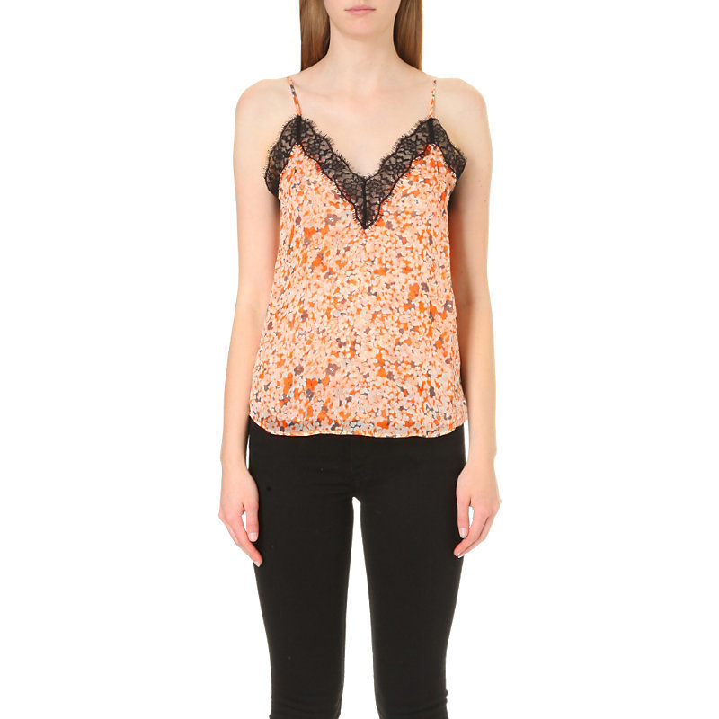 Floral Print Silk Chiffon Top, Women's, Size: Xs, Orange - neckline: v-neck; sleeve style: spaghetti straps; style: camisole; predominant colour: bright orange; secondary colour: black; occasions: evening; length: standard; fibres: silk - 100%; fit: body skimming; sleeve length: sleeveless; texture group: sheer fabrics/chiffon/organza etc.; pattern type: fabric; pattern size: standard; pattern: patterned/print; embellishment: lace; multicoloured: multicoloured; season: a/w 2016; wardrobe: event