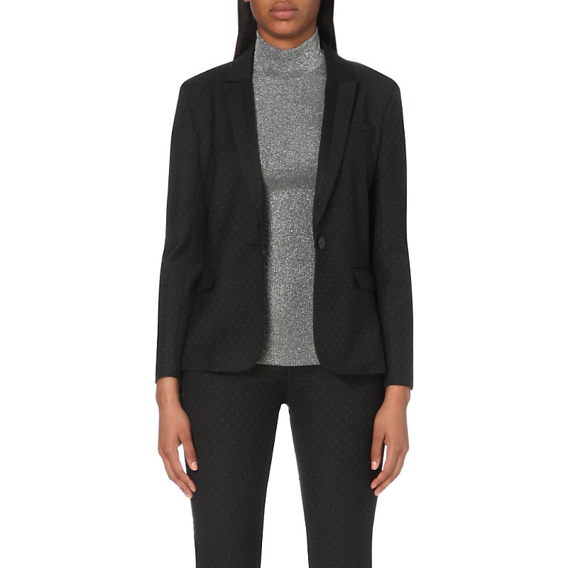 Victoriane Woven Jacket, Women's, Noir - pattern: plain; style: single breasted blazer; collar: standard lapel/rever collar; predominant colour: black; occasions: work, creative work; length: standard; fit: tailored/fitted; fibres: polyester/polyamide - stretch; sleeve length: long sleeve; sleeve style: standard; collar break: medium; pattern type: fabric; texture group: woven light midweight; season: a/w 2016