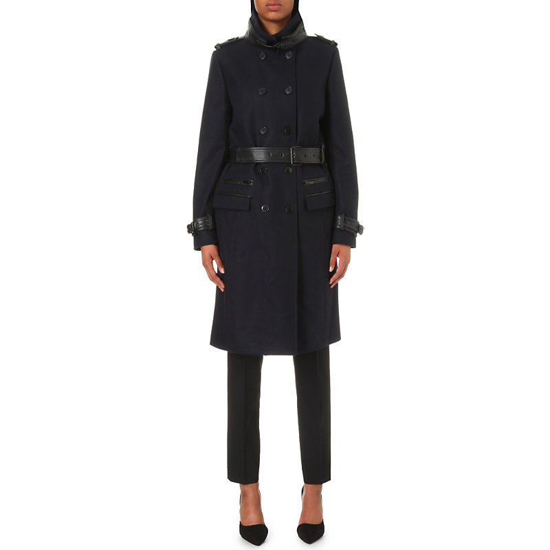 Leather Detail Wool Blend Coat, Women's, Kaki - pattern: plain; collar: funnel; style: double breasted; length: on the knee; predominant colour: black; occasions: work, creative work; fit: tailored/fitted; fibres: wool - mix; sleeve length: long sleeve; sleeve style: standard; collar break: high; pattern type: fabric; texture group: woven bulky/heavy; wardrobe: investment; season: a/w 2016