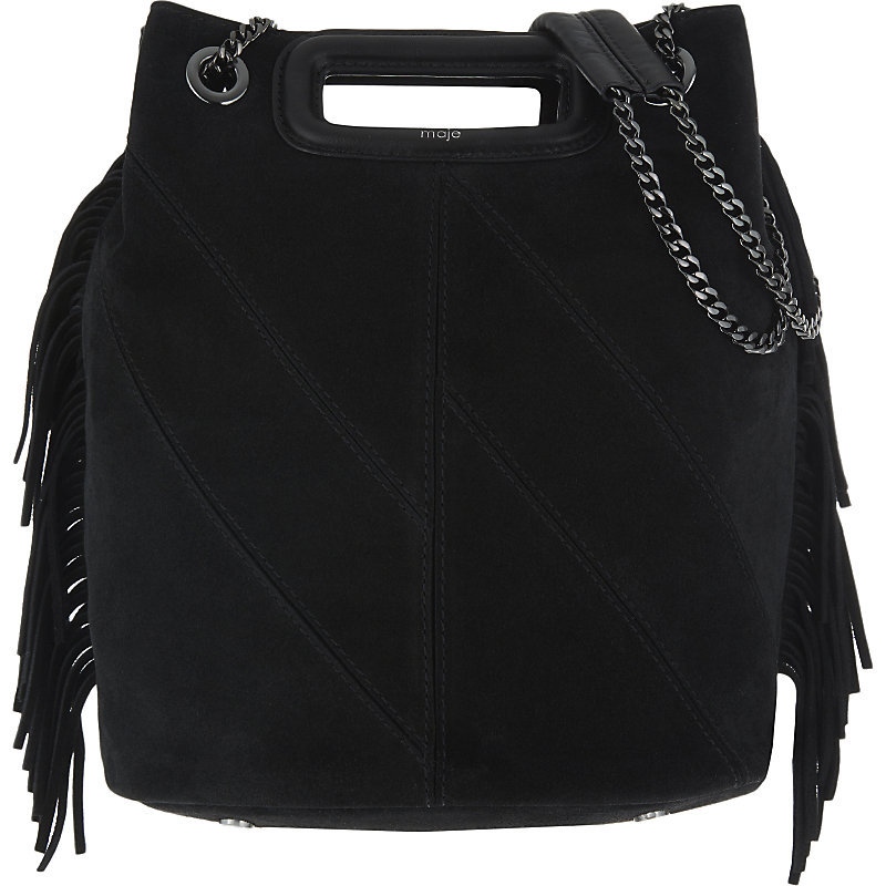 Eiffel Suede Bucket Bag, Women's, Black - predominant colour: black; occasions: casual, creative work; type of pattern: standard; style: shoulder; length: shoulder (tucks under arm); size: standard; material: suede; embellishment: tassels; pattern: plain; finish: plain; wardrobe: investment; season: a/w 2016