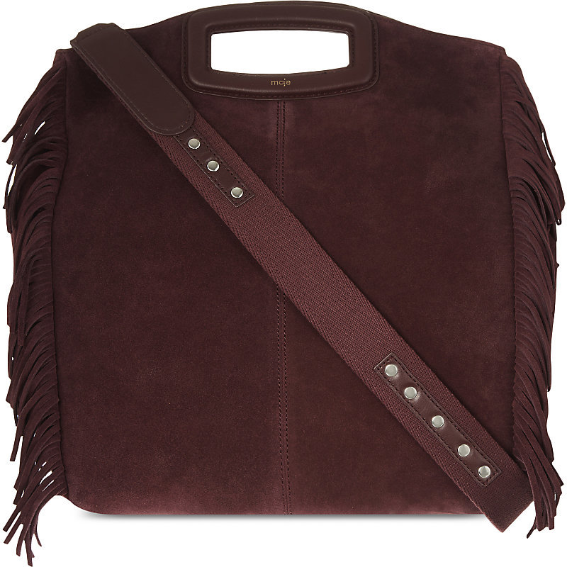 The M Suede Cross Body Bag, Women's, Size: Medium, Red - predominant colour: burgundy; occasions: casual, creative work; type of pattern: standard; style: structured bag; length: shoulder (tucks under arm); size: standard; material: suede; embellishment: tassels; pattern: plain; finish: plain; season: a/w 2016