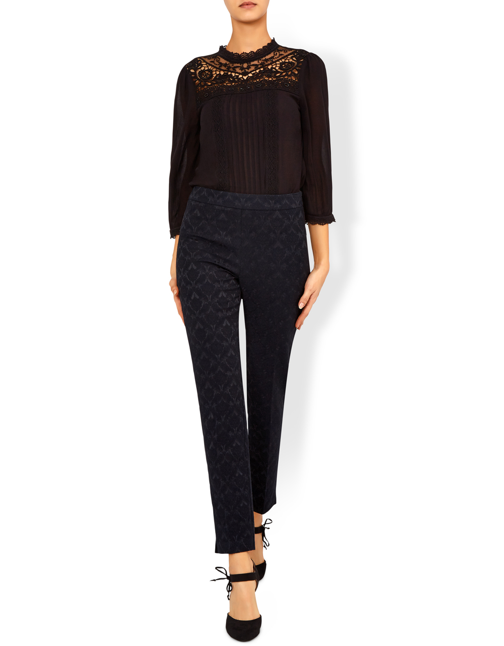 Jess Jacquard Trouser - waist: mid/regular rise; predominant colour: black; occasions: evening; length: ankle length; fibres: polyester/polyamide - 100%; fit: slim leg; pattern type: fabric; pattern: patterned/print; texture group: brocade/jacquard; style: standard; pattern size: light/subtle (bottom); season: a/w 2016; wardrobe: event