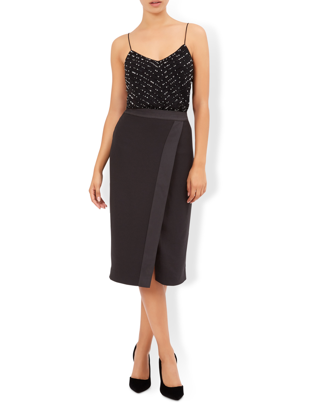 Petra Skirt - length: below the knee; pattern: plain; style: pencil; fit: tailored/fitted; waist: mid/regular rise; predominant colour: black; occasions: evening; fibres: polyester/polyamide - 100%; pattern type: fabric; texture group: woven light midweight; season: a/w 2016; wardrobe: event