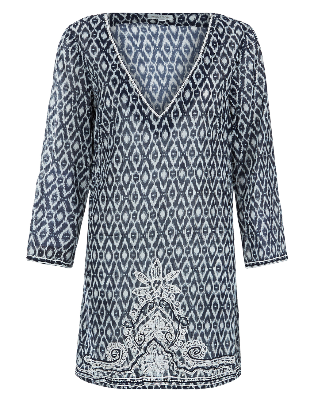 Tabitha Kaftan - length: mid thigh; neckline: v-neck; fit: loose; style: kaftan; secondary colour: white; predominant colour: denim; occasions: casual; fibres: cotton - 100%; sleeve length: long sleeve; sleeve style: standard; texture group: cotton feel fabrics; pattern type: fabric; pattern: patterned/print; multicoloured: multicoloured; season: a/w 2016; wardrobe: highlight
