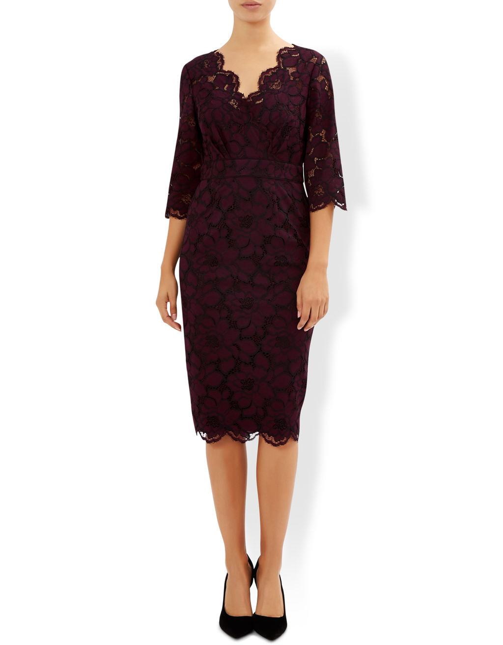 Elodie Dress - style: shift; length: below the knee; neckline: v-neck; fit: tailored/fitted; pattern: plain; predominant colour: burgundy; occasions: evening, occasion; fibres: polyester/polyamide - stretch; sleeve length: half sleeve; sleeve style: standard; texture group: lace; pattern type: fabric; pattern size: standard; season: a/w 2016; wardrobe: event