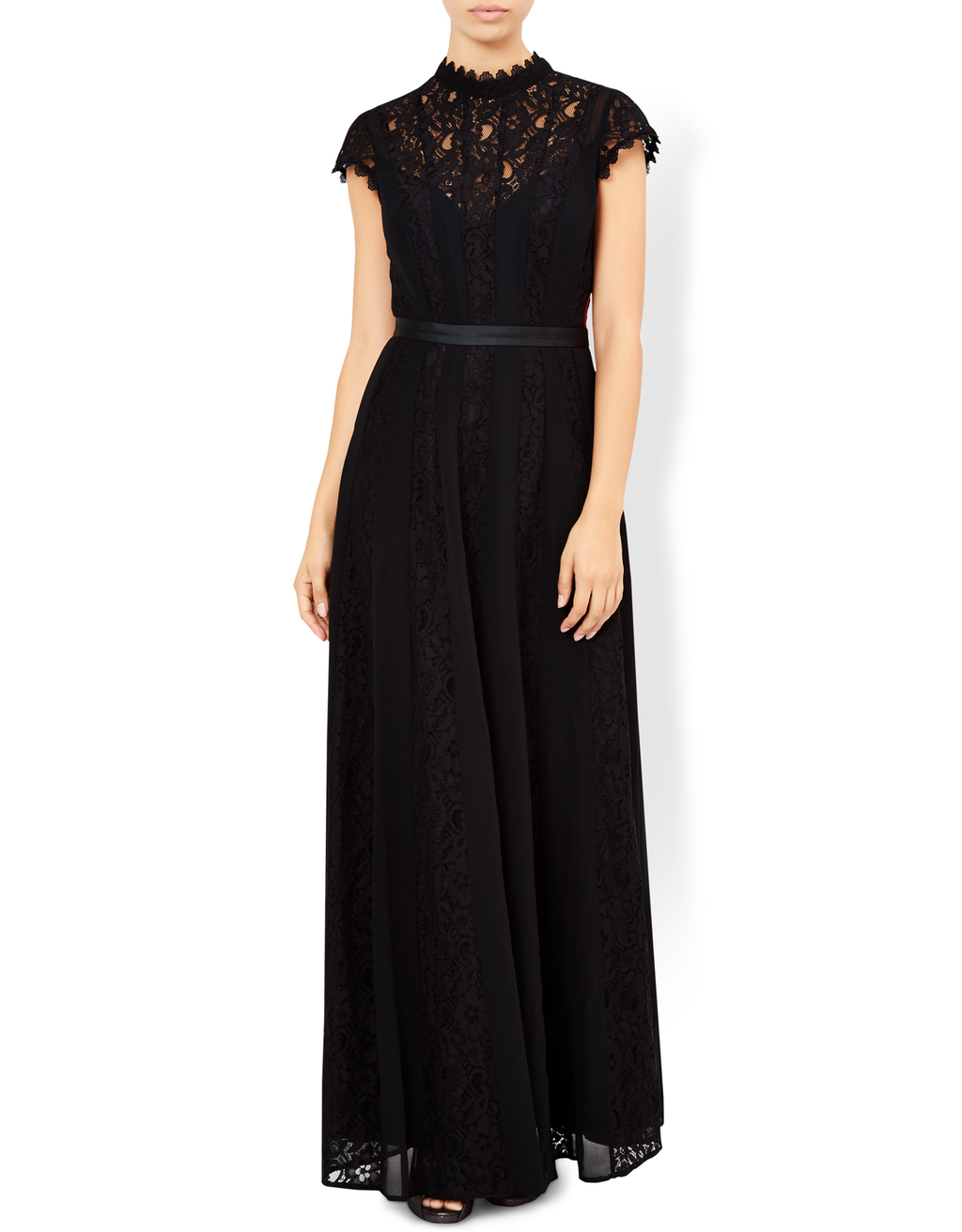 Roxana Maxi Dress - sleeve style: capped; pattern: plain; style: maxi dress; neckline: high neck; predominant colour: black; length: floor length; fit: soft a-line; fibres: polyester/polyamide - 100%; occasions: occasion; back detail: keyhole/peephole detail at back; sleeve length: short sleeve; texture group: sheer fabrics/chiffon/organza etc.; pattern type: fabric; embellishment: lace; season: a/w 2016