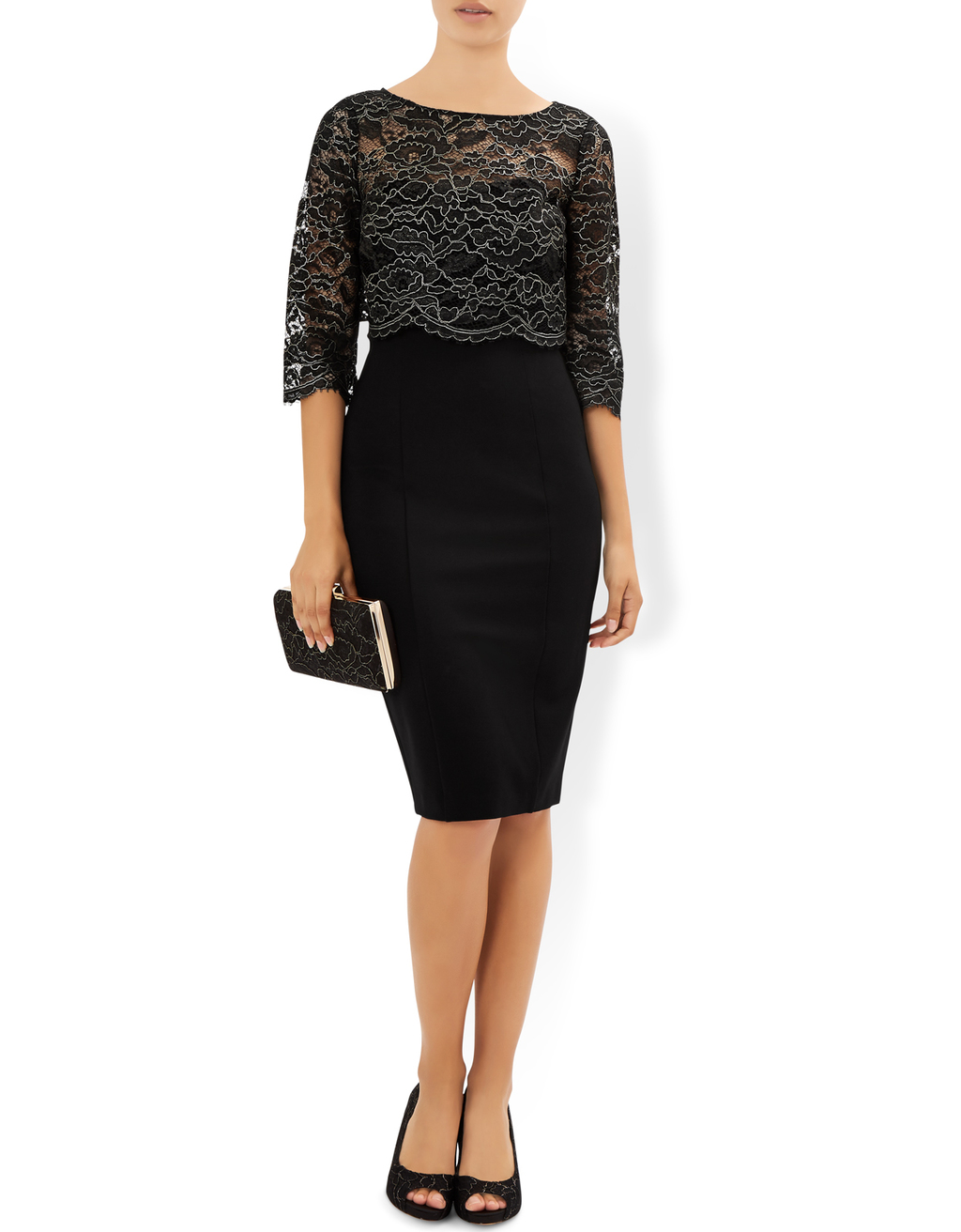 Madineh Dress - fit: tight; pattern: plain; style: bodycon; secondary colour: charcoal; predominant colour: black; occasions: evening; length: on the knee; neckline: crew; sleeve length: 3/4 length; sleeve style: standard; texture group: jersey - clingy; pattern type: fabric; fibres: nylon - stretch; embellishment: lace; multicoloured: multicoloured; season: a/w 2016; wardrobe: event