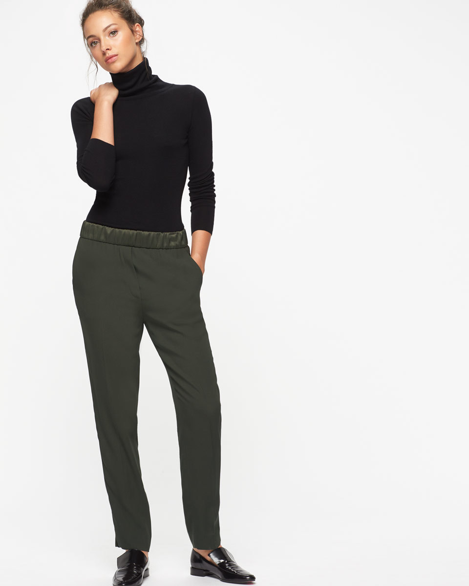 Relaxed Crepe Satin Stripe Trousers - pattern: striped; waist detail: elasticated waist; waist: mid/regular rise; predominant colour: dark green; length: ankle length; fibres: polyester/polyamide - 100%; texture group: crepes; fit: slim leg; pattern type: fabric; style: standard; occasions: creative work; season: a/w 2016; wardrobe: highlight