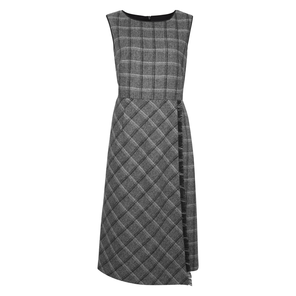 Wool Check Fringe Dress - style: shift; length: below the knee; fit: tailored/fitted; sleeve style: sleeveless; pattern: checked/gingham; predominant colour: charcoal; secondary colour: light grey; occasions: work; fibres: wool - 100%; neckline: crew; sleeve length: sleeveless; pattern type: fabric; texture group: woven light midweight; multicoloured: multicoloured; season: a/w 2016; wardrobe: highlight