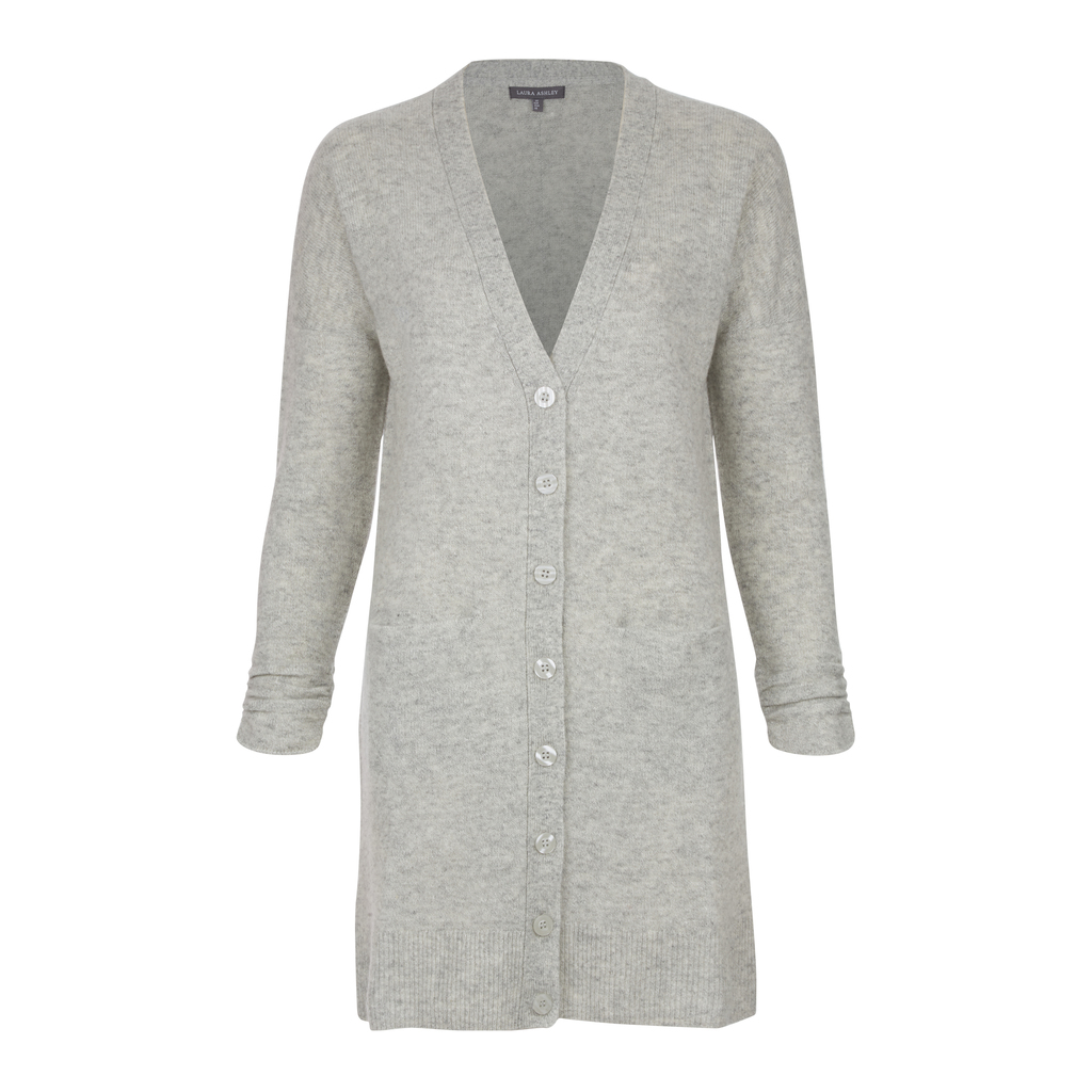 Longline Wool And Linen Cardigan - neckline: low v-neck; pattern: plain; length: on the knee; predominant colour: light grey; occasions: casual, work, creative work; style: standard; fibres: wool - mix; fit: standard fit; sleeve length: long sleeve; sleeve style: standard; texture group: knits/crochet; pattern type: knitted - fine stitch; season: a/w 2016