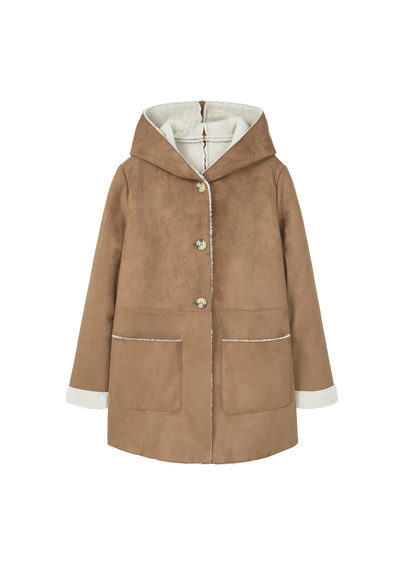 Faux Shearling Aviator Coat - pattern: plain; length: below the bottom; collar: funnel; fit: loose; predominant colour: camel; occasions: casual; fibres: polyester/polyamide - 100%; sleeve length: long sleeve; sleeve style: standard; collar break: high; pattern type: fabric; texture group: woven bulky/heavy; style: aviator; wardrobe: basic; season: a/w 2016