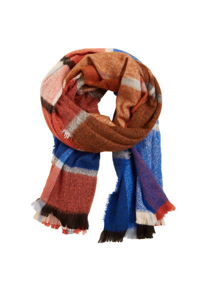 Check Scarf - secondary colour: royal blue; predominant colour: tan; occasions: casual, creative work; type of pattern: light; style: regular; size: standard; material: fabric; pattern: checked/gingham; season: a/w 2016; wardrobe: highlight