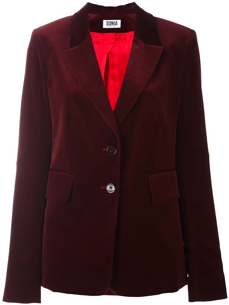Velvet Effect Single Breasted Blazer, Women's, Red - pattern: plain; style: single breasted blazer; fit: slim fit; collar: standard lapel/rever collar; predominant colour: burgundy; occasions: evening; length: standard; fibres: cotton - 100%; sleeve length: long sleeve; sleeve style: standard; collar break: medium; pattern type: fabric; texture group: velvet/fabrics with pile; season: a/w 2016; wardrobe: event