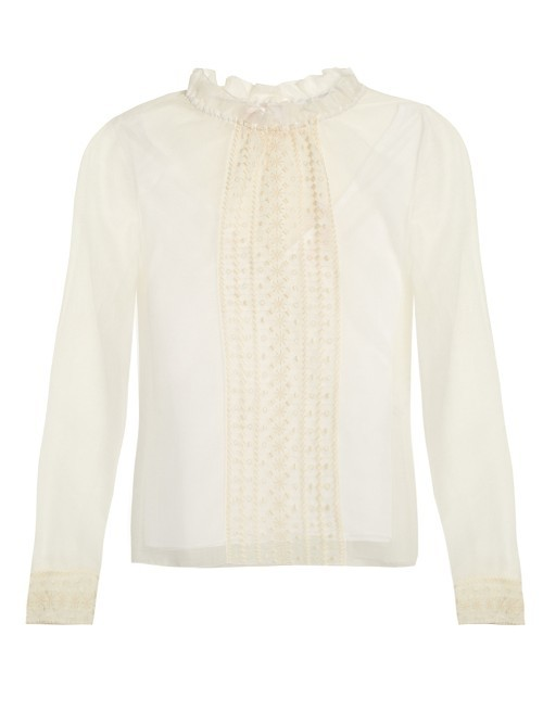 Ruffled Collar Mesh Blouse - pattern: plain; neckline: high neck; style: blouse; predominant colour: ivory/cream; occasions: work, occasion, creative work; length: standard; fibres: cotton - mix; fit: straight cut; sleeve length: long sleeve; sleeve style: standard; texture group: sheer fabrics/chiffon/organza etc.; bust detail: bulky details at bust; pattern type: fabric; season: a/w 2016; wardrobe: highlight