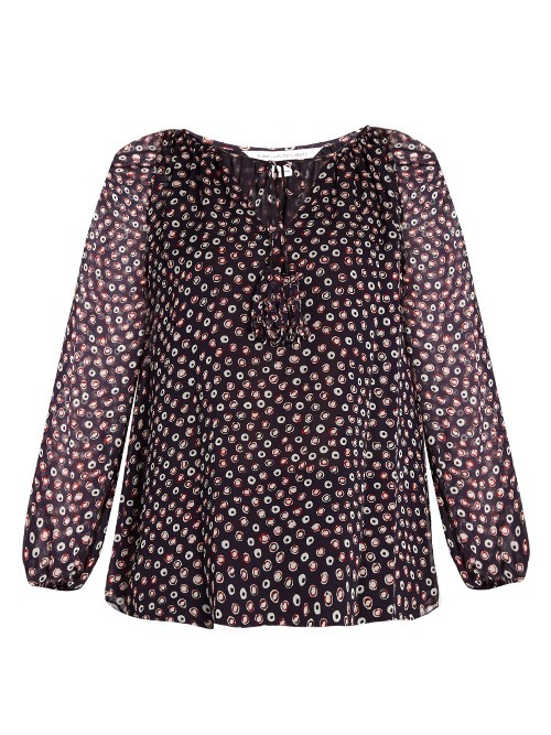 Saylor Blouse - neckline: round neck; style: blouse; predominant colour: purple; occasions: work; length: standard; fibres: silk - 100%; fit: body skimming; sleeve length: long sleeve; sleeve style: standard; texture group: silky - light; pattern type: fabric; pattern: patterned/print; pattern size: big & busy (top); season: a/w 2016; wardrobe: highlight