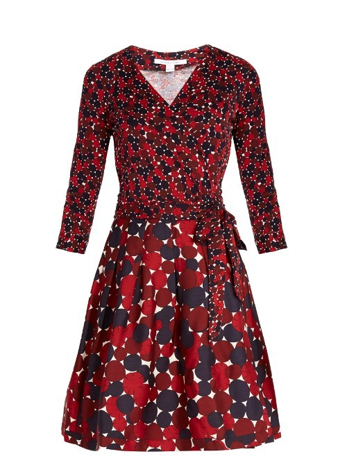 Jewel Dress - style: faux wrap/wrap; neckline: v-neck; waist detail: belted waist/tie at waist/drawstring; predominant colour: true red; secondary colour: navy; occasions: evening; length: just above the knee; fit: body skimming; fibres: polyester/polyamide - stretch; sleeve length: 3/4 length; sleeve style: standard; pattern type: fabric; pattern: patterned/print; texture group: jersey - stretchy/drapey; multicoloured: multicoloured; season: a/w 2016; wardrobe: event