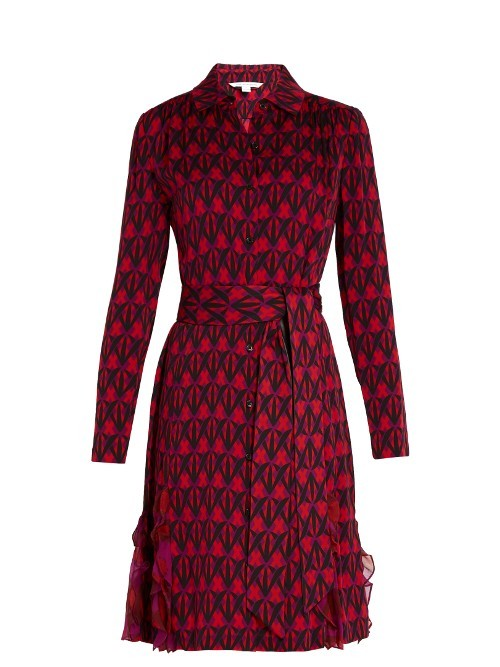 Catherine Dress - style: shirt; neckline: shirt collar/peter pan/zip with opening; waist detail: belted waist/tie at waist/drawstring; predominant colour: true red; secondary colour: black; occasions: evening; length: on the knee; fit: body skimming; fibres: silk - mix; sleeve length: long sleeve; sleeve style: standard; texture group: silky - light; pattern type: fabric; pattern: patterned/print; multicoloured: multicoloured; season: a/w 2016; wardrobe: event