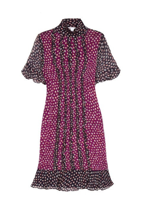 Sebina Dress - style: shift; neckline: high neck; pattern: polka dot; predominant colour: hot pink; secondary colour: black; occasions: evening; length: just above the knee; fit: body skimming; fibres: silk - 100%; sleeve length: short sleeve; sleeve style: standard; texture group: sheer fabrics/chiffon/organza etc.; bust detail: bulky details at bust; pattern type: fabric; multicoloured: multicoloured; season: a/w 2016; wardrobe: event