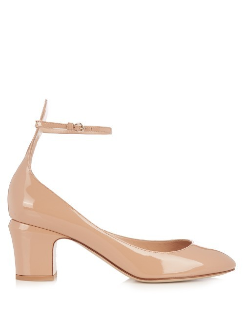 Tan Go Patent Leather Pumps - predominant colour: nude; occasions: evening; material: leather; heel height: mid; ankle detail: ankle strap; heel: block; toe: open toe/peeptoe; style: courts; finish: patent; pattern: plain; season: a/w 2016; wardrobe: event